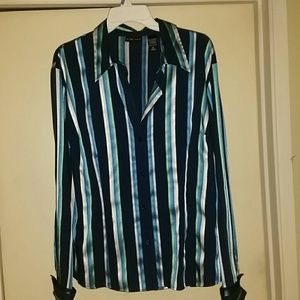 Long sleeve blue, green, silver pen strip blouse